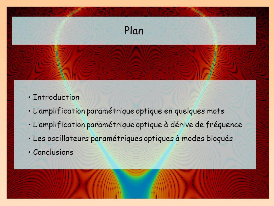 Plan Introduction Lamplification paramétrique optique en quelques mots Lamplification paramétrique optique à dérive de fréquence Les oscillateurs para