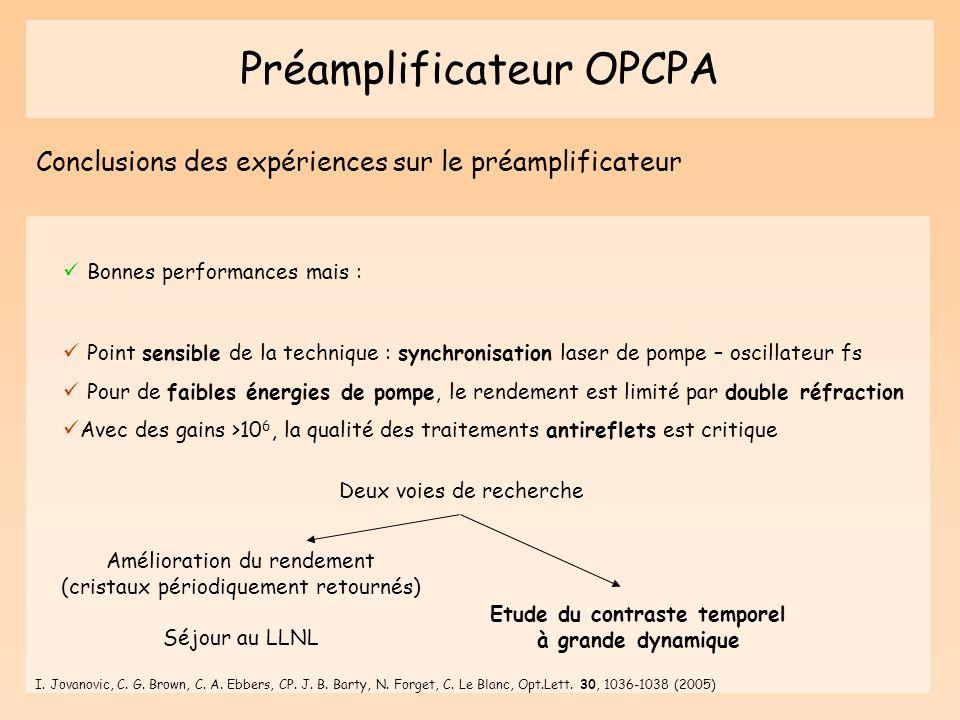 Préamplificateur OPCPA Conclusions des expériences sur le préamplificateur Point sensible de la technique : synchronisation laser de pompe – oscillate
