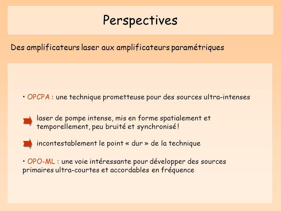 Perspectives Des amplificateurs laser aux amplificateurs paramétriques OPCPA : une technique prometteuse pour des sources ultra-intenses laser de pomp