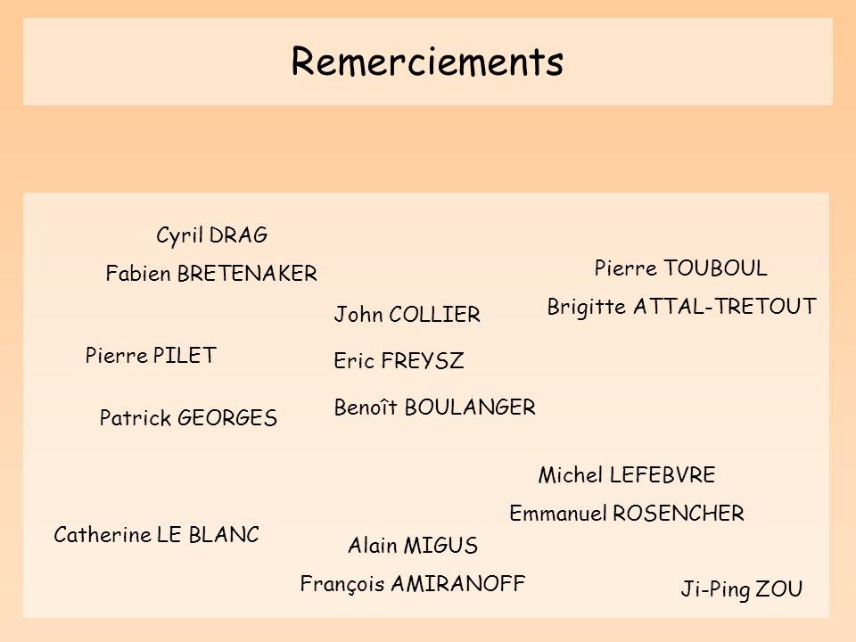 Remerciements John COLLIER Eric FREYSZ Benoît BOULANGER Patrick GEORGES Michel LEFEBVRE Emmanuel ROSENCHER Catherine LE BLANC Cyril DRAG Fabien BRETEN