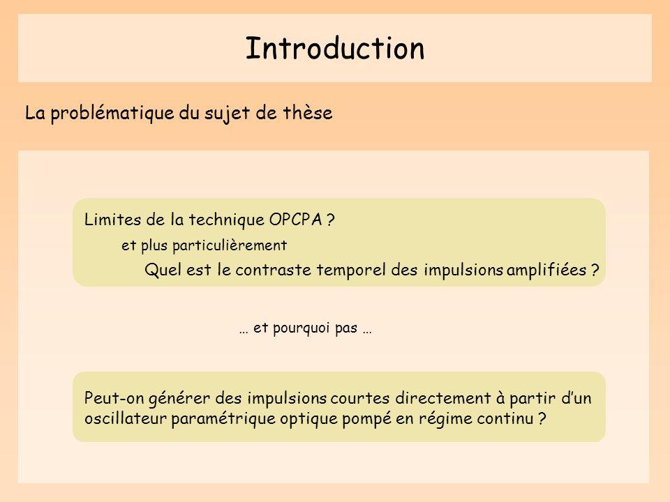 Introduction La problématique du sujet de thèse Limites de la technique OPCPA ? Quel est le contraste temporel des impulsions amplifiées ? Peut-on gén