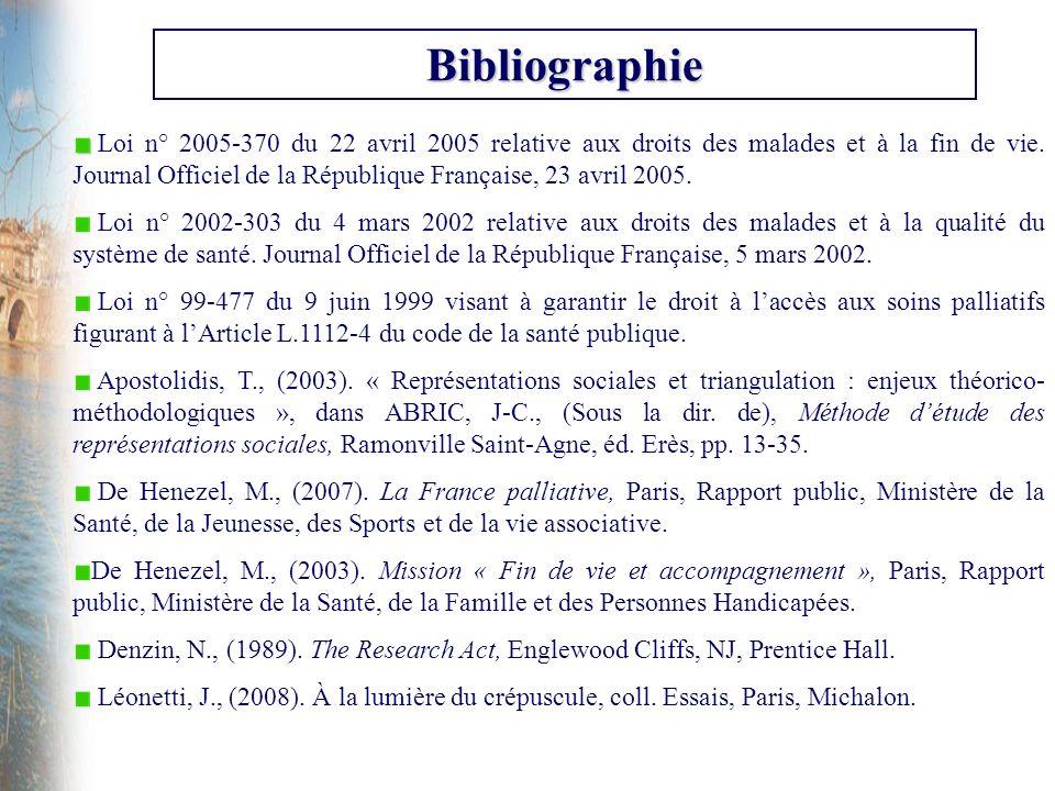 Bibliographie Loi n° 2005-370 du 22 avril 2005 relative aux droits des malades et à la fin de vie. Journal Officiel de la République Française, 23 avr