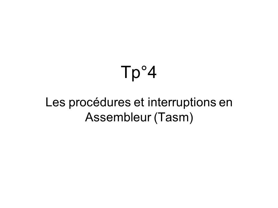 Tp°4 Les procédures et interruptions en Assembleur (Tasm)