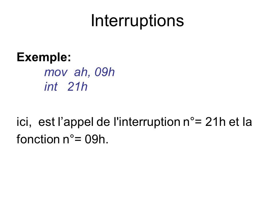 Exemple: mov ah, 09h int 21h ici, est lappel de l'interruption n°= 21h et la fonction n°= 09h. Interruptions