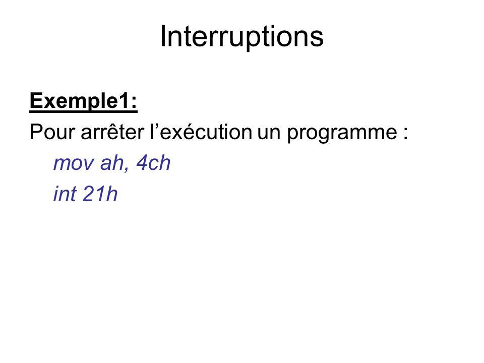 Exemple1: Pour arrêter lexécution un programme : mov ah, 4ch int 21h Interruptions