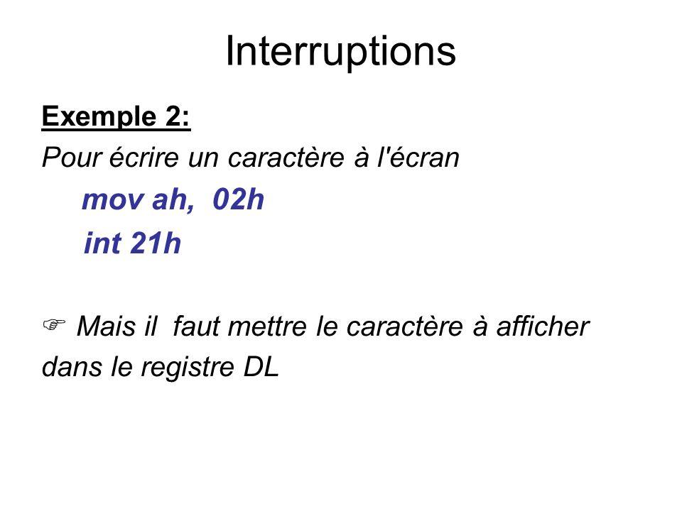 Exemple 2: Pour écrire un caractère à l'écran mov ah, 02h int 21h Mais il faut mettre le caractère à afficher dans le registre DL Interruptions