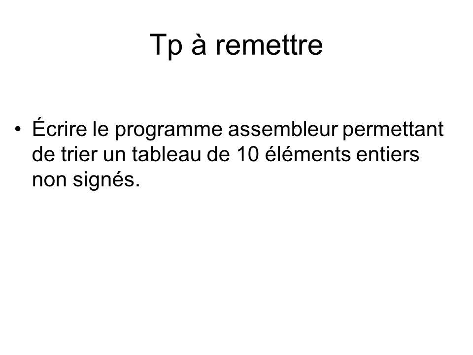 Tp à remettre Écrire le programme assembleur permettant de trier un tableau de 10 éléments entiers non signés.