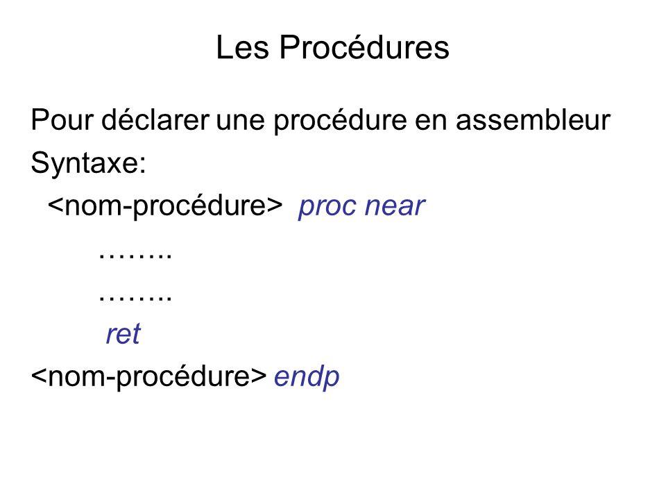 Les Procédures Pour déclarer une procédure en assembleur Syntaxe: proc near …….. ret endp