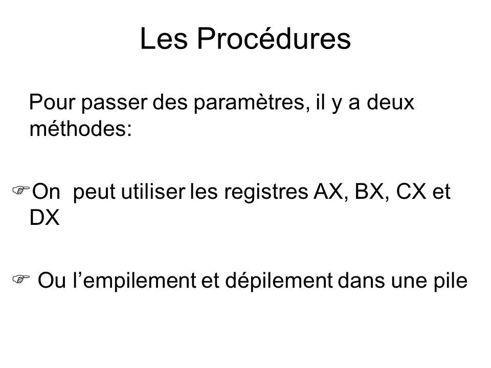 Pour passer des paramètres, il y a deux méthodes: On peut utiliser les registres AX, BX, CX et DX Ou lempilement et dépilement dans une pile Les Procé