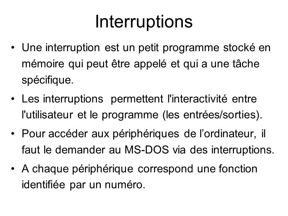 Interruptions Une interruption est un petit programme stocké en mémoire qui peut être appelé et qui a une tâche spécifique. Les interruptions permette