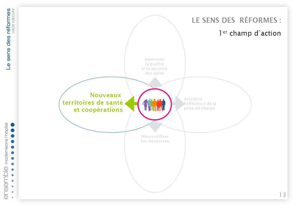 12 LE SENS DES RÉFORMES : 4 objectifs complémentaires pour améliorer le parcours de soins Mieux utiliser les ressources Améliorer la qualité et la sécurité des soins Garantir laccès aux soins pour tous Accroître lefficience de la prise en charge