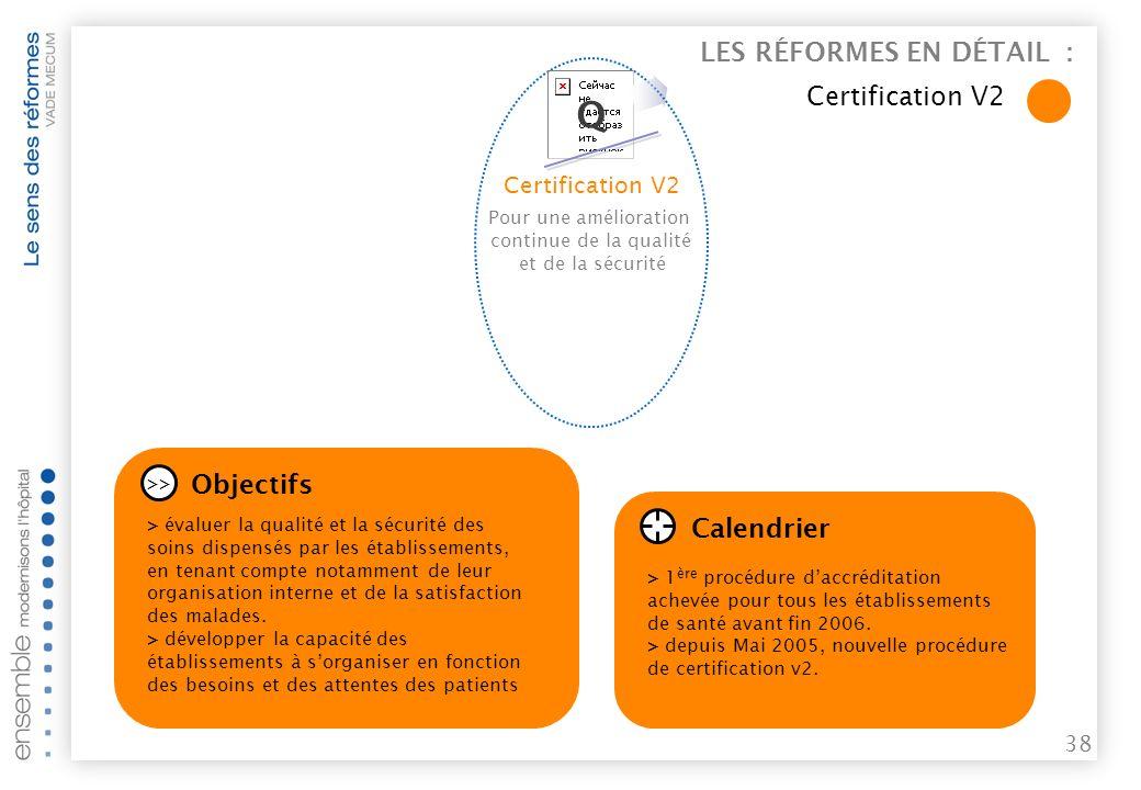 37 Pour une amélioration continue de la qualité et de la sécurité Certification v2 LES RÉFORMES EN DÉTAIL : Certification V2xfn,b Q