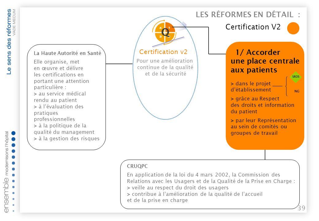 38 Pour une amélioration continue de la qualité et de la sécurité Certification V2 >> Objectifs > évaluer la qualité et la sécurité des soins dispensés par les établissements, en tenant compte notamment de leur organisation interne et de la satisfaction des malades.