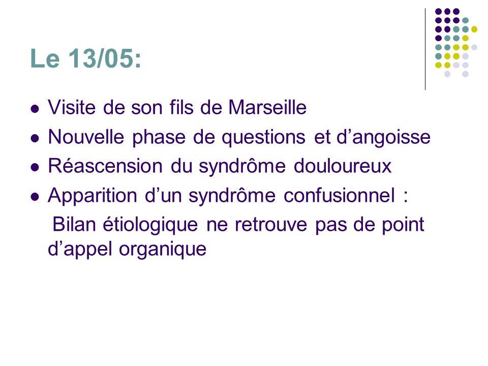 Le 13/05: Visite de son fils de Marseille Nouvelle phase de questions et dangoisse Réascension du syndrôme douloureux Apparition dun syndrôme confusio