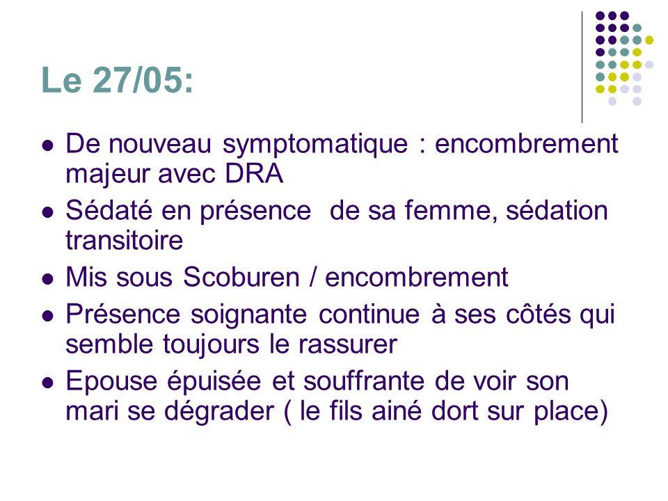 Le 27/05: De nouveau symptomatique : encombrement majeur avec DRA Sédaté en présence de sa femme, sédation transitoire Mis sous Scoburen / encombremen
