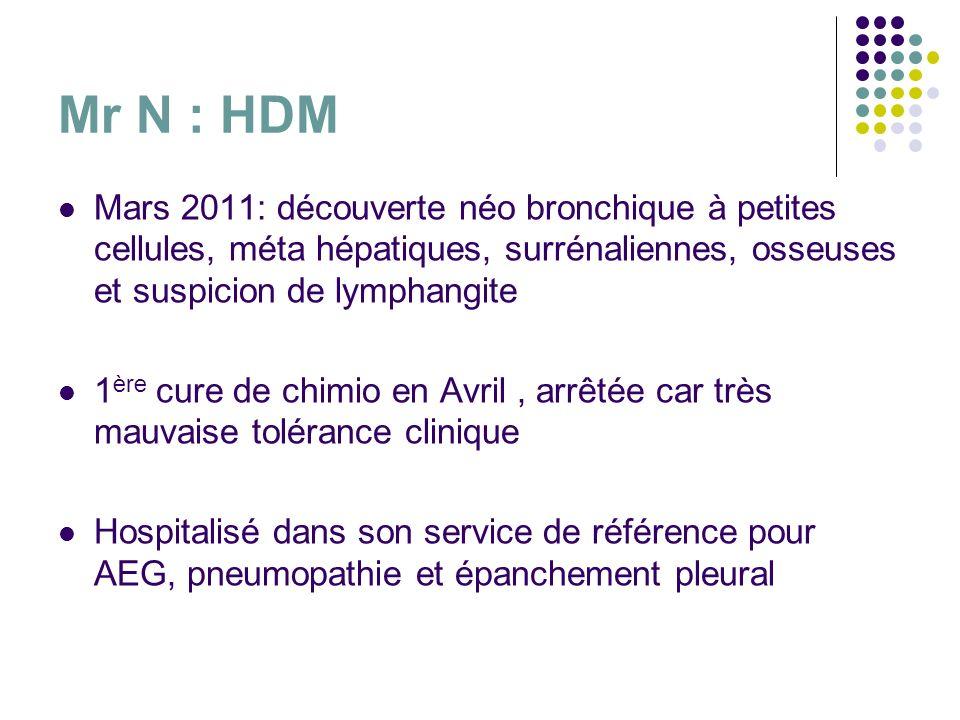 Mr N : HDM Mars 2011: découverte néo bronchique à petites cellules, méta hépatiques, surrénaliennes, osseuses et suspicion de lymphangite 1 ère cure d