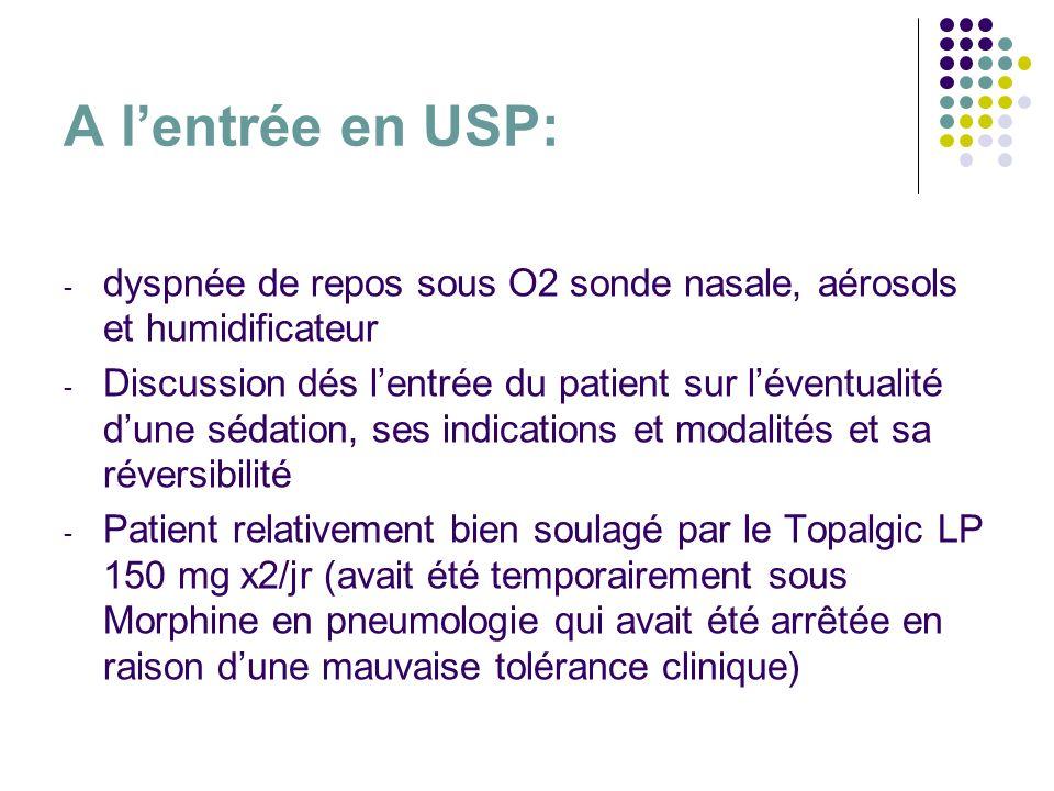 A lentrée en USP: - dyspnée de repos sous O2 sonde nasale, aérosols et humidificateur - Discussion dés lentrée du patient sur léventualité dune sédati
