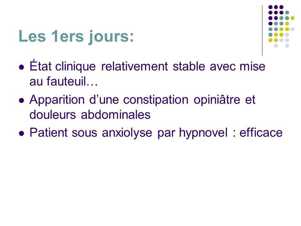 Les 1ers jours: État clinique relativement stable avec mise au fauteuil… Apparition dune constipation opiniâtre et douleurs abdominales Patient sous a