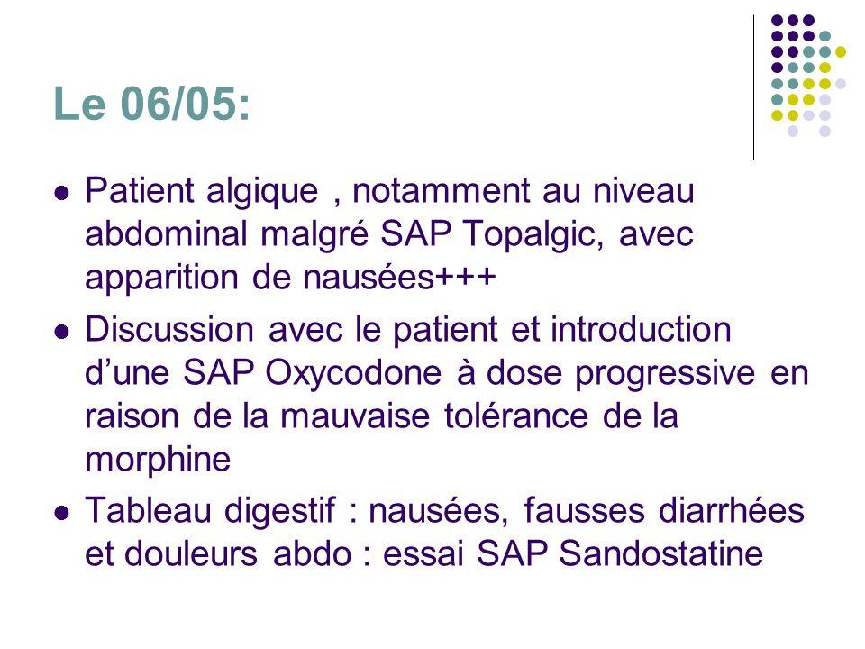 Le 06/05: Patient algique, notamment au niveau abdominal malgré SAP Topalgic, avec apparition de nausées+++ Discussion avec le patient et introduction