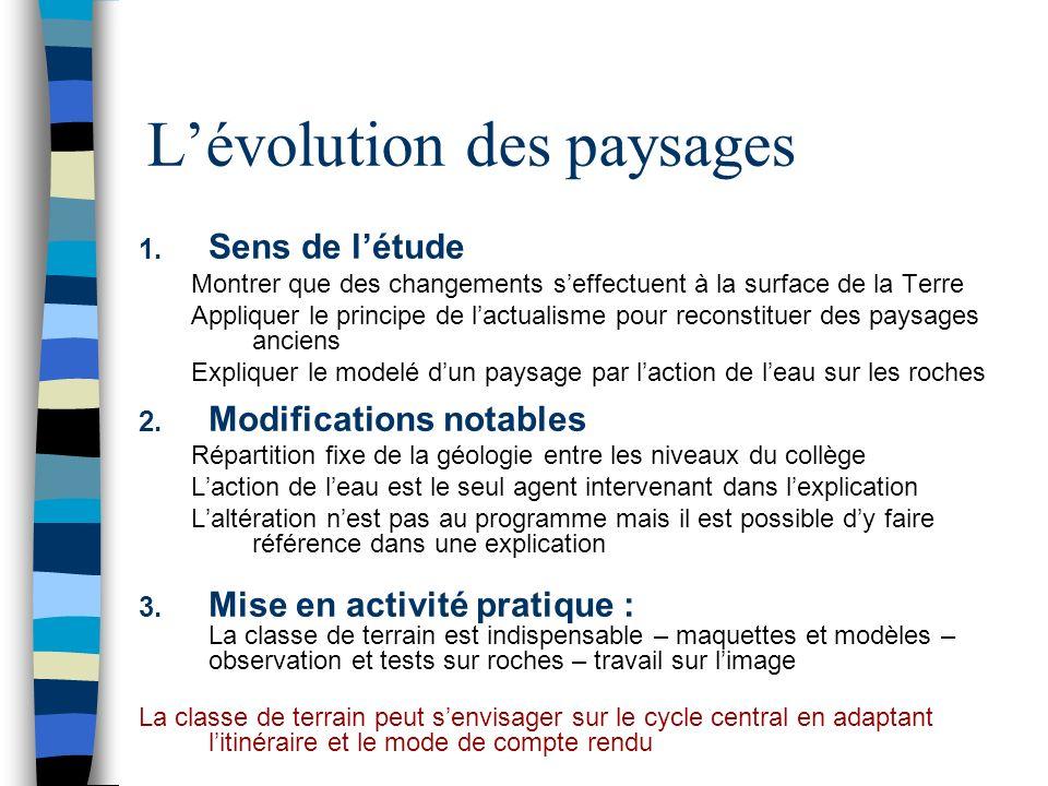 Lévolution des paysages 1.