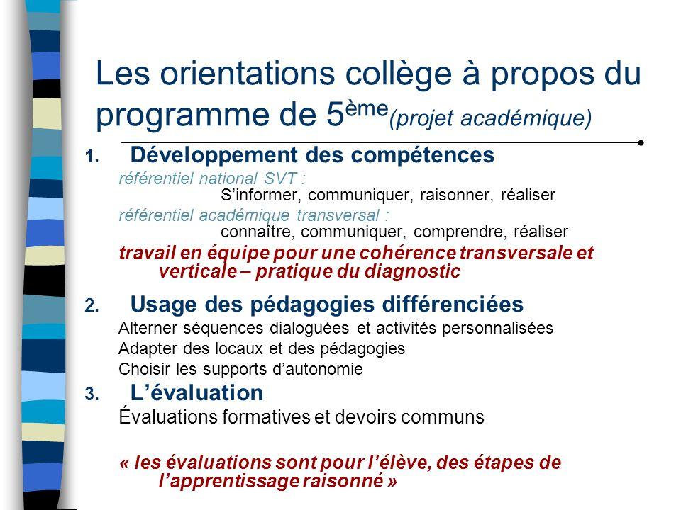 Les orientations collège à propos du programme de 5 ème (projet académique) 1. Développement des compétences référentiel national SVT : Sinformer, com
