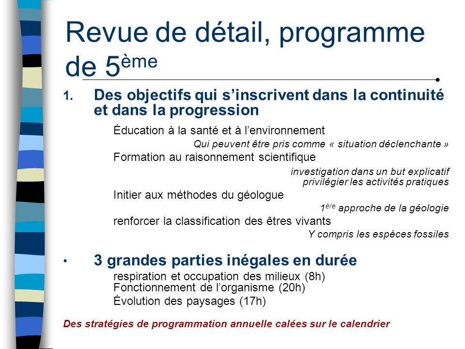 Revue de détail, programme de 5 ème 1. Des objectifs qui sinscrivent dans la continuité et dans la progression Éducation à la santé et à lenvironnemen