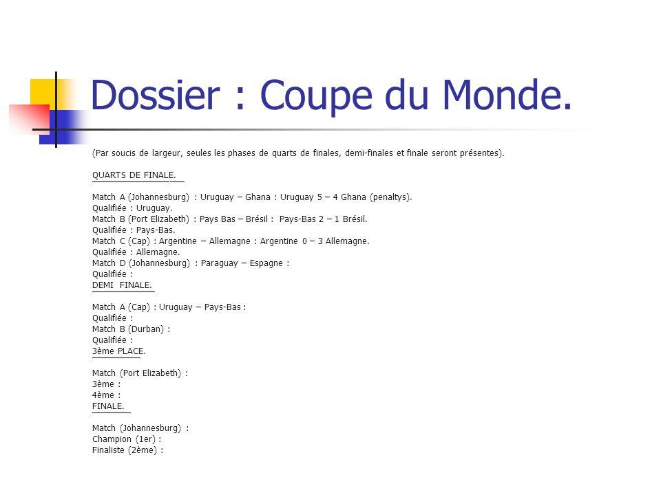 Dossier : Coupe du Monde. (Par soucis de largeur, seules les phases de quarts de finales, demi-finales et finale seront présentes). QUARTS DE FINALE.