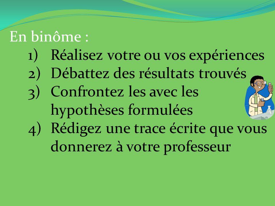 En binôme : 1)Réalisez votre ou vos expériences 2)Débattez des résultats trouvés 3)Confrontez les avec les hypothèses formulées 4)Rédigez une trace éc