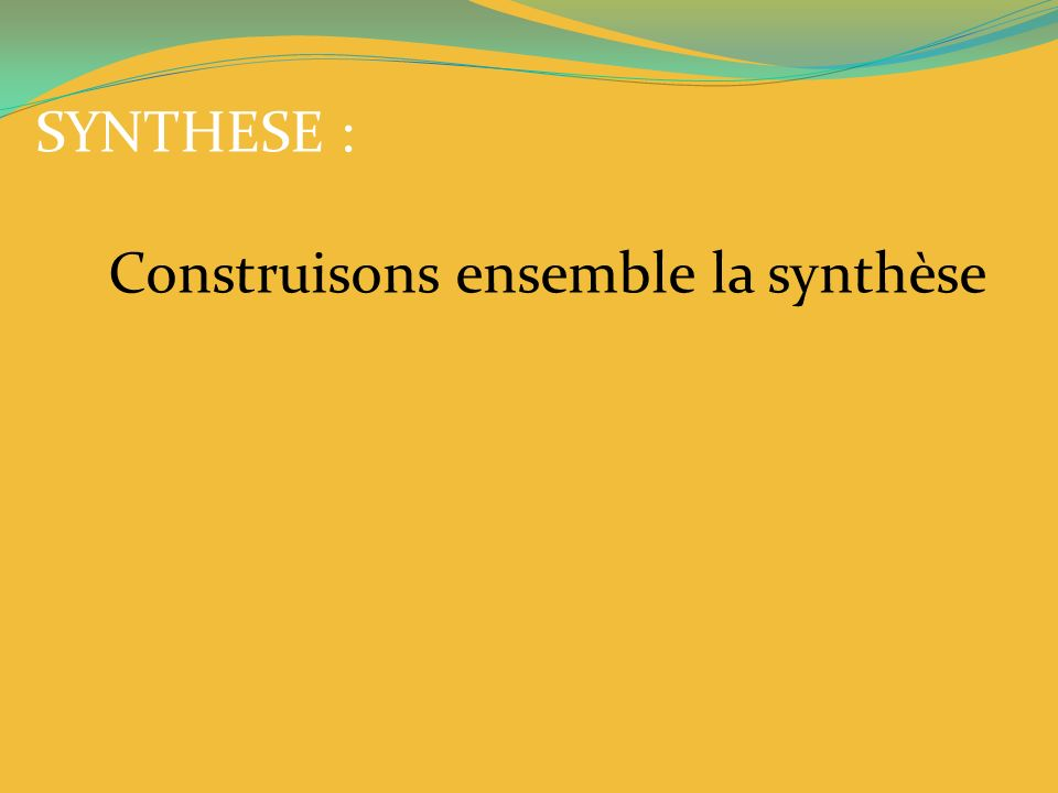 SYNTHESE : Construisons ensemble la synthèse