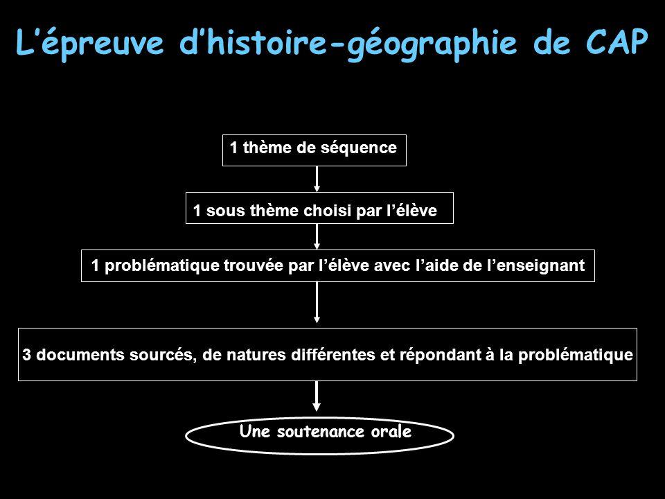 Lépreuve dhistoire-géographie de CAP 1 thème de séquence 1 sous thème choisi par lélève 1 problématique trouvée par lélève avec laide de lenseignant 3