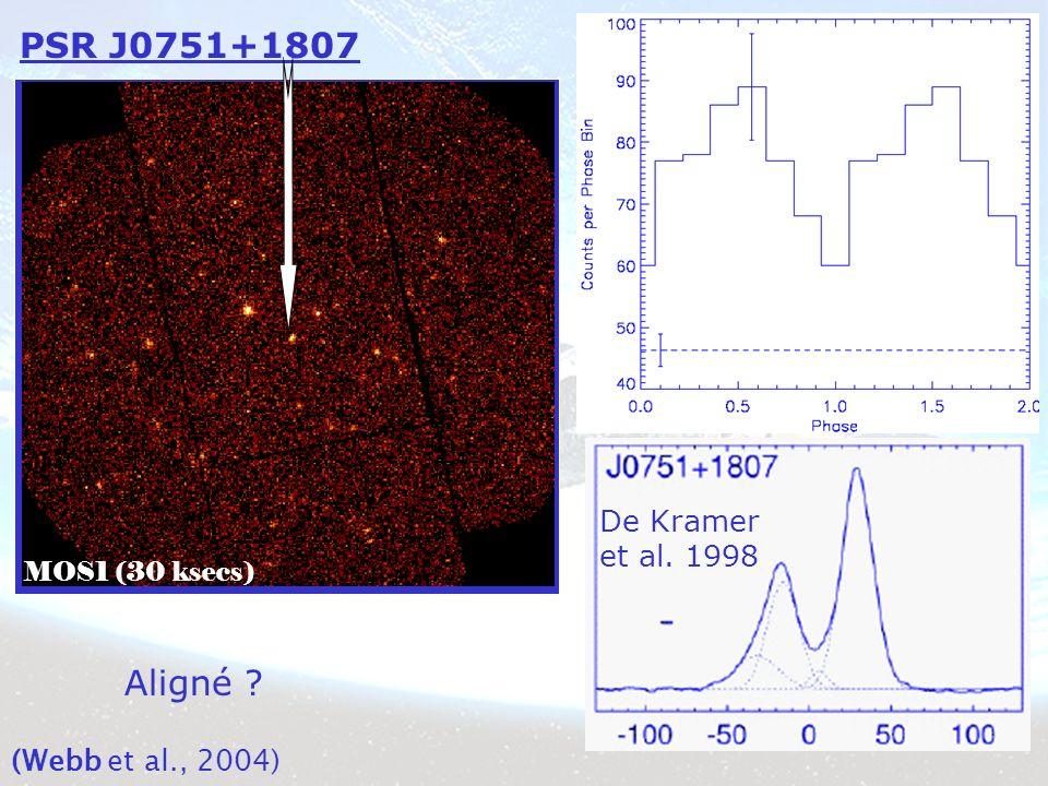 PSR J0751+1807 MOS1 (30 ksecs) De Kramer et al. 1998 Aligné (Webb et al., 2004)