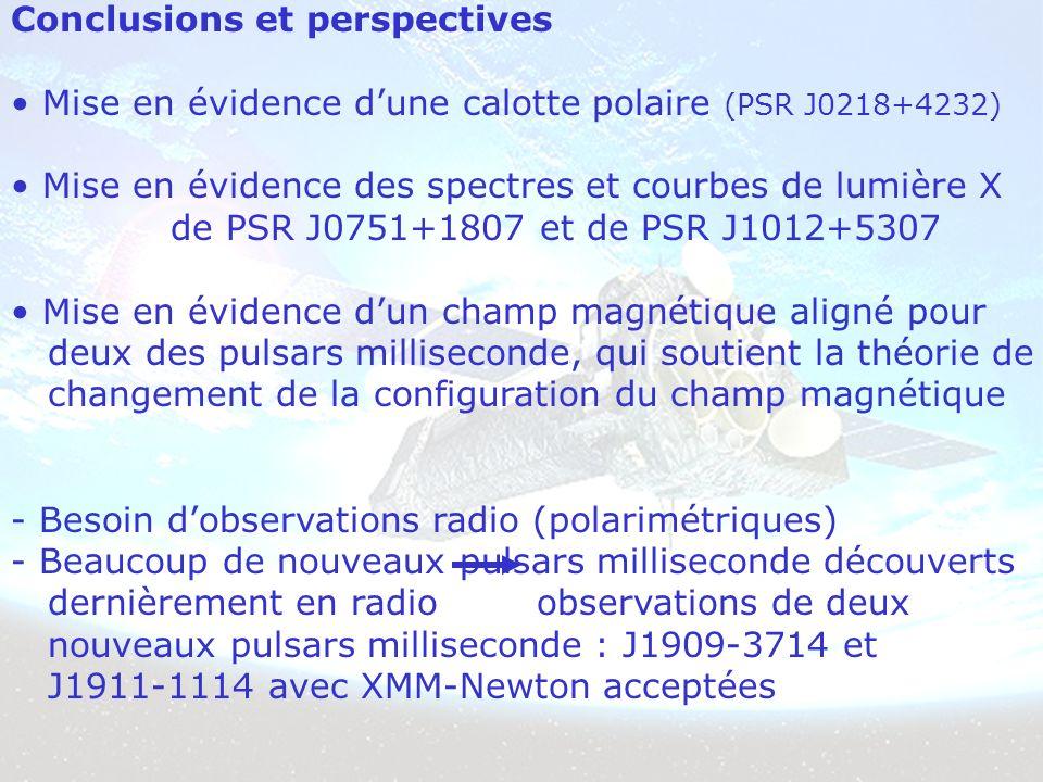 Conclusions et perspectives Mise en évidence dune calotte polaire (PSR J0218+4232) Mise en évidence des spectres et courbes de lumière X de PSR J0751+1807 et de PSR J1012+5307 Mise en évidence dun champ magnétique aligné pour deux des pulsars milliseconde, qui soutient la théorie de changement de la configuration du champ magnétique - Besoin dobservations radio (polarimétriques) - Beaucoup de nouveaux pulsars milliseconde découverts dernièrement en radio observations de deux nouveaux pulsars milliseconde : J1909-3714 et J1911-1114 avec XMM-Newton acceptées