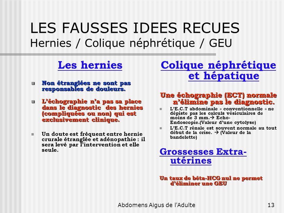 Abdomens Aigus de l'Adulte13 LES FAUSSES IDEES RECUES Hernies / Colique néphrétique / GEU Les hernies Non étranglées ne sont pas responsables de doule