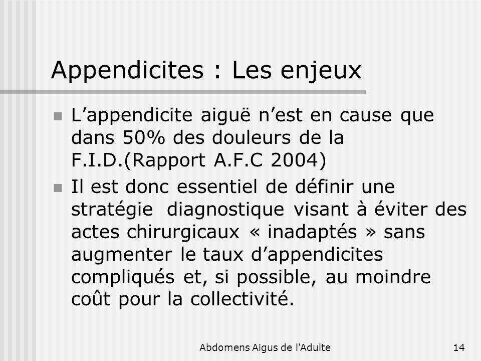 Abdomens Aigus de l'Adulte14 Appendicites : Les enjeux Lappendicite aiguë nest en cause que dans 50% des douleurs de la F.I.D.(Rapport A.F.C 2004) Il