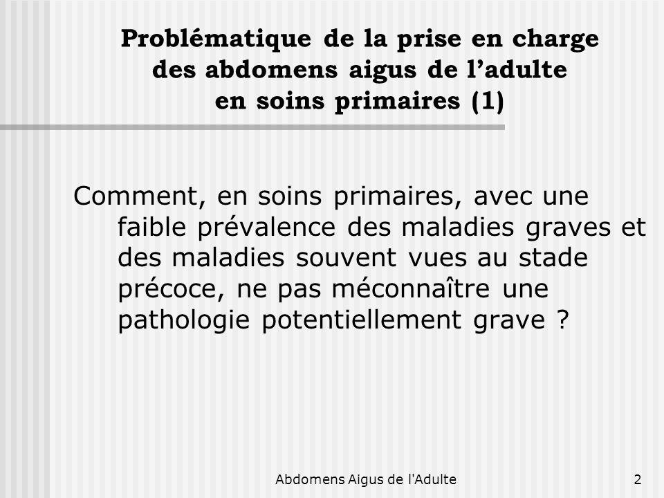 Abdomens Aigus de l'Adulte2 Problématique de la prise en charge des abdomens aigus de ladulte en soins primaires (1) Comment, en soins primaires, avec