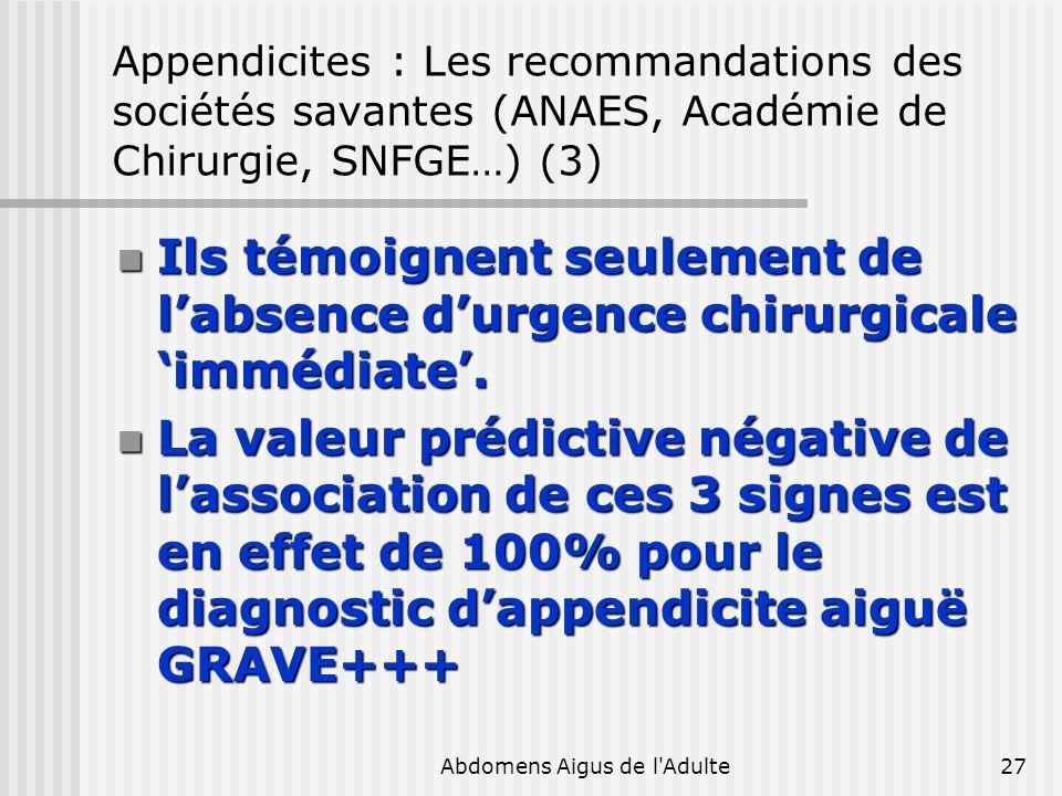 Abdomens Aigus de l'Adulte27 Appendicites : Les recommandations des sociétés savantes (ANAES, Académie de Chirurgie, SNFGE…) (3) Ils témoignent seulem