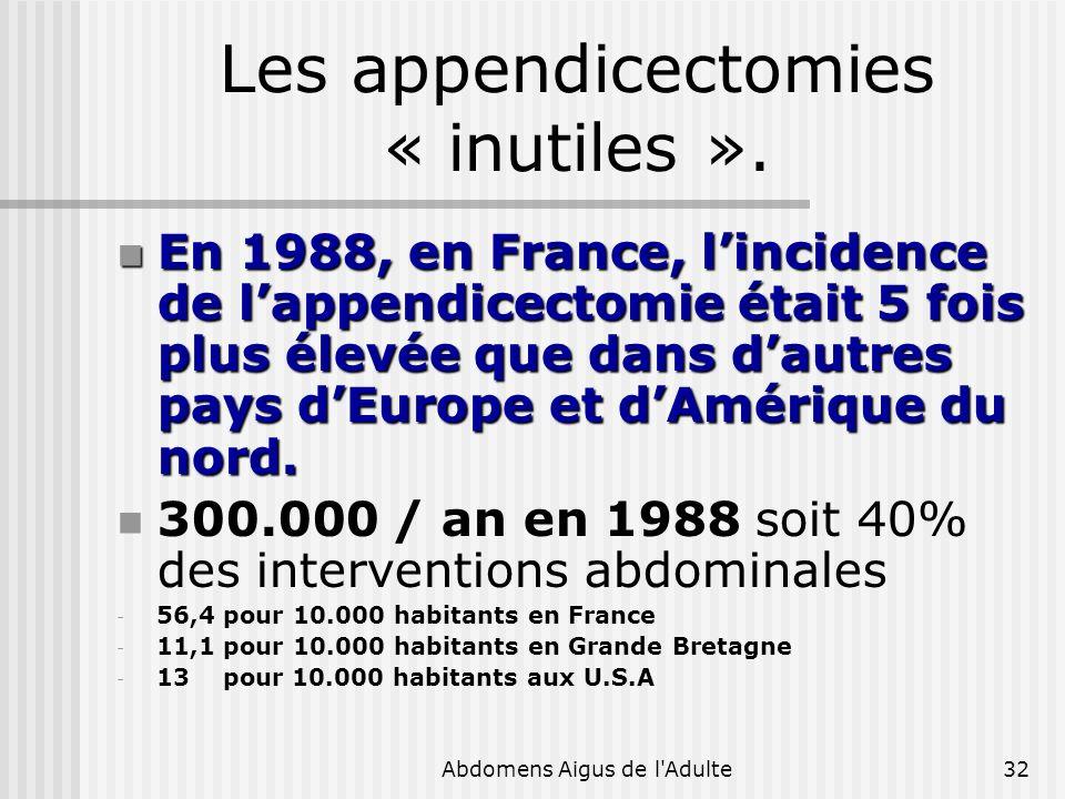 Abdomens Aigus de l'Adulte32 Les appendicectomies « inutiles ». En 1988, en France, lincidence de lappendicectomie était 5 fois plus élevée que dans d