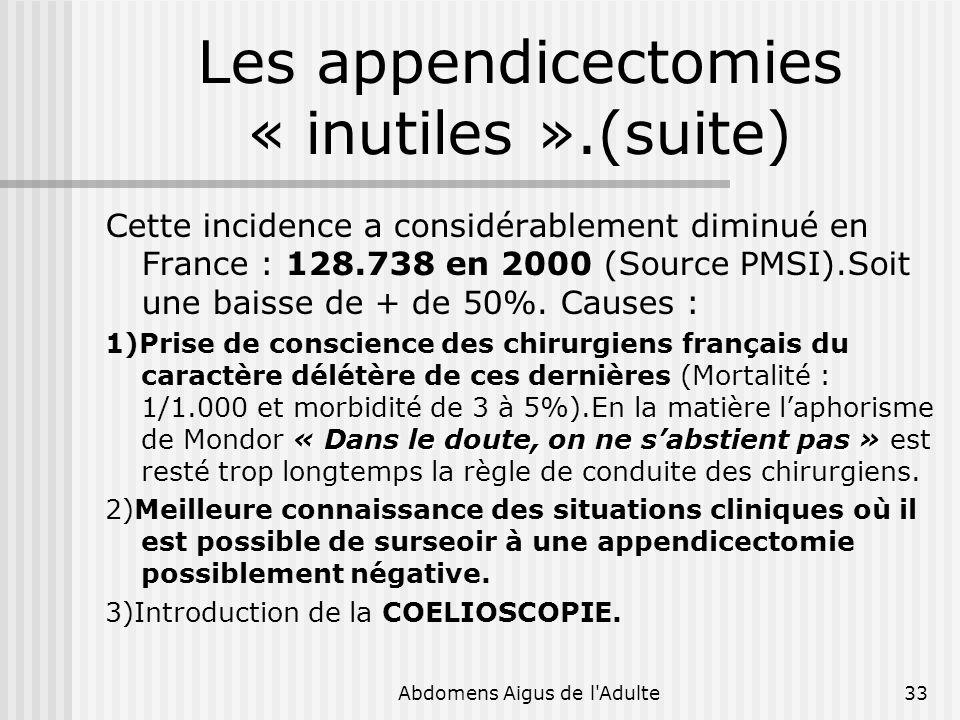 Abdomens Aigus de l'Adulte33 Les appendicectomies « inutiles ».(suite) Cette incidence a considérablement diminué en France : 128.738 en 2000 (Source