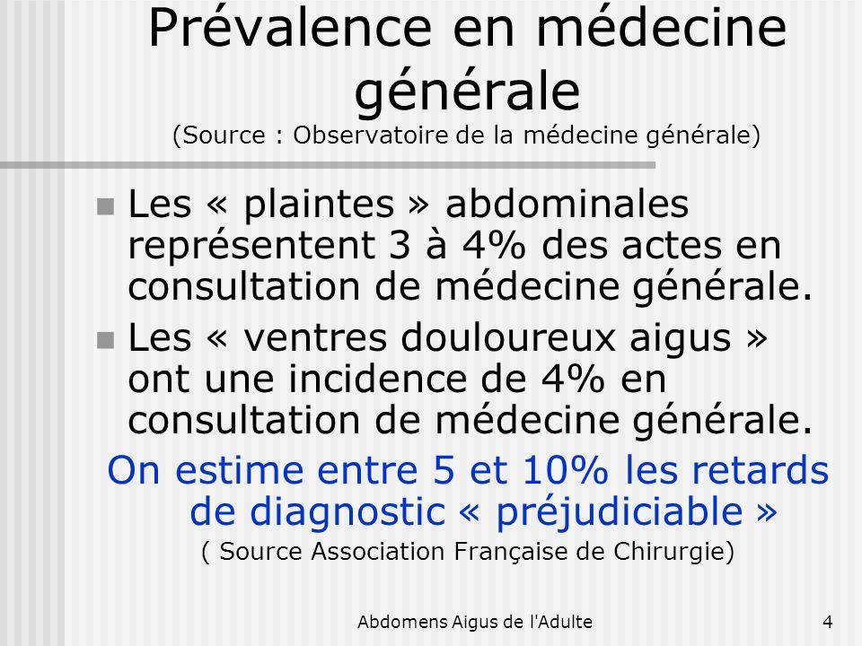 Abdomens Aigus de l'Adulte4 Prévalence en médecine générale (Source : Observatoire de la médecine générale) Les « plaintes » abdominales représentent