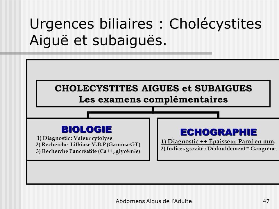 Abdomens Aigus de l'Adulte47 Urgences biliaires : Cholécystites Aiguë et subaiguës. CHOLECYSTITES AIGUES et SUBAIGUES Les examens complémentaires BIOL
