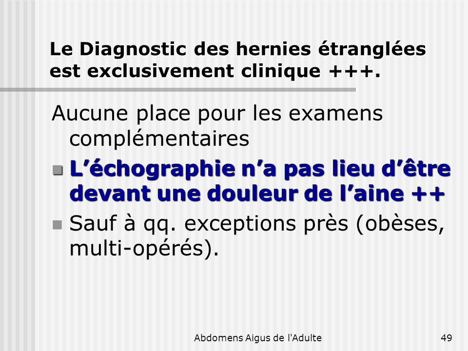 Abdomens Aigus de l'Adulte49 Le Diagnostic des hernies étranglées est exclusivement clinique +++. Aucune place pour les examens complémentaires Léchog
