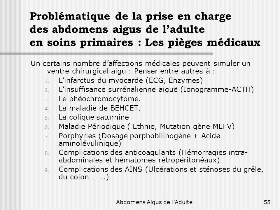 Abdomens Aigus de l'Adulte58 Problématique de la prise en charge des abdomens aigus de ladulte en soins primaires : Les pièges médicaux Un certains no