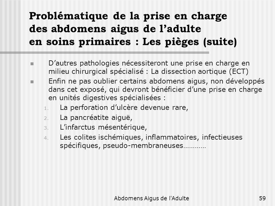 Abdomens Aigus de l'Adulte59 Problématique de la prise en charge des abdomens aigus de ladulte en soins primaires : Les pièges (suite) Dautres patholo