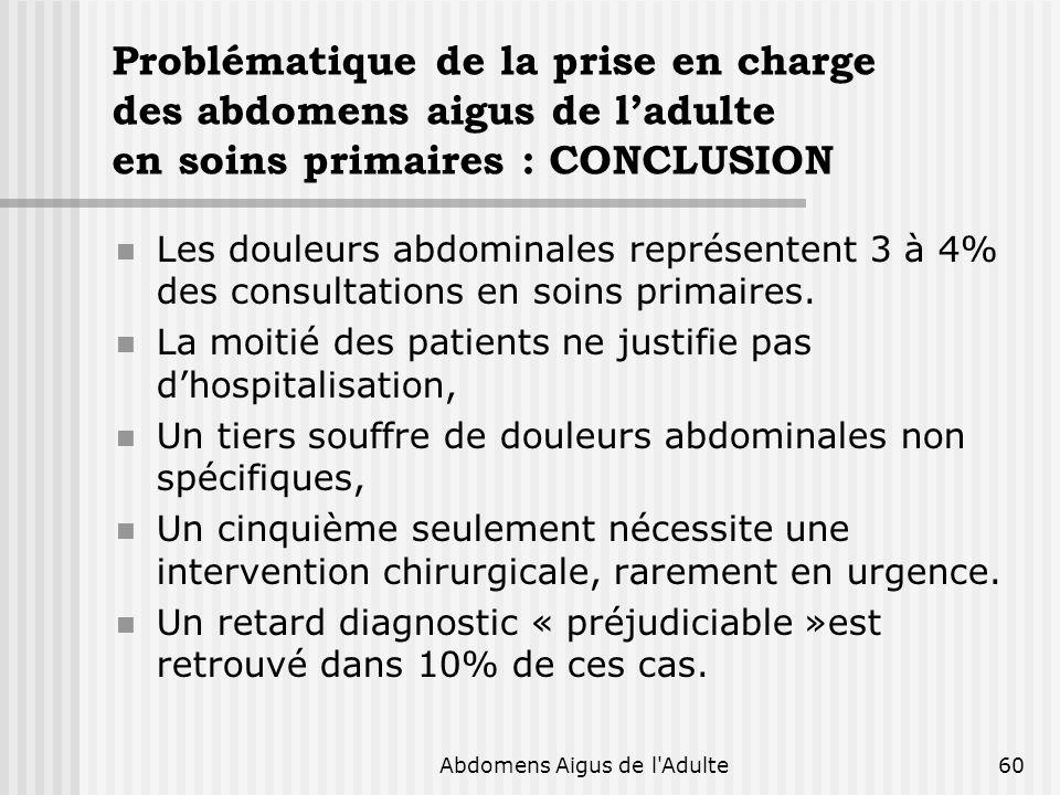 Abdomens Aigus de l'Adulte60 Problématique de la prise en charge des abdomens aigus de ladulte en soins primaires : CONCLUSION Les douleurs abdominale