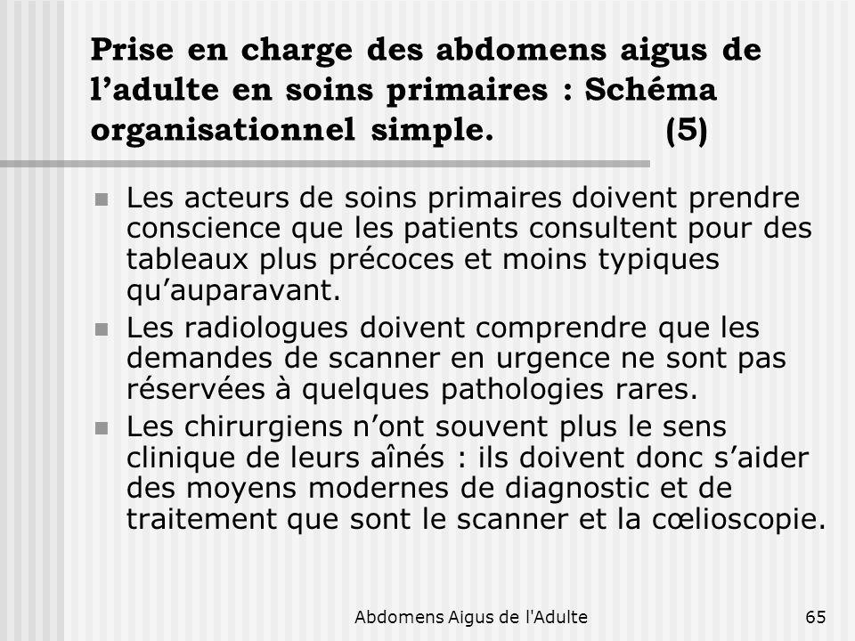 Abdomens Aigus de l'Adulte65 Prise en charge des abdomens aigus de ladulte en soins primaires : Schéma organisationnel simple. (5) Les acteurs de soin