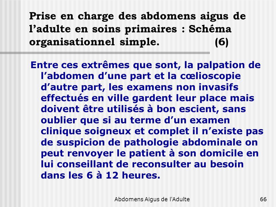 Abdomens Aigus de l'Adulte66 Prise en charge des abdomens aigus de ladulte en soins primaires : Schéma organisationnel simple. (6) Entre ces extrêmes