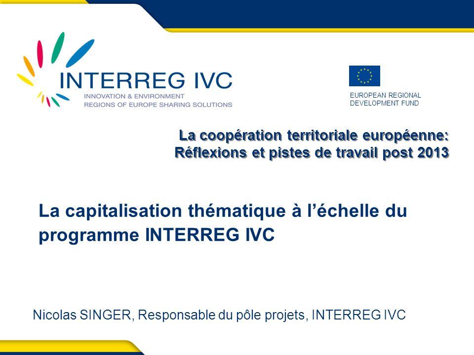 La coopération territoriale européenne - Paris, 30 juin 2011 22 Durée et budget Durée: 1 ère phase: janvier 2012 à décembre 2013 2 ème phase (à confirmer): 2014 jusque mi-2015 Budget pour la 1 ère phase: 1 million deuros (41,000 euros par thématique par an) Financement sous les Priorités 1 et 2 du programme: (priorités Innovation et Environnement initialement dédiées aux projets): - EUR 750 000 ERDF - EUR 250 000 Contribution nationale (intérêts générés) 3.