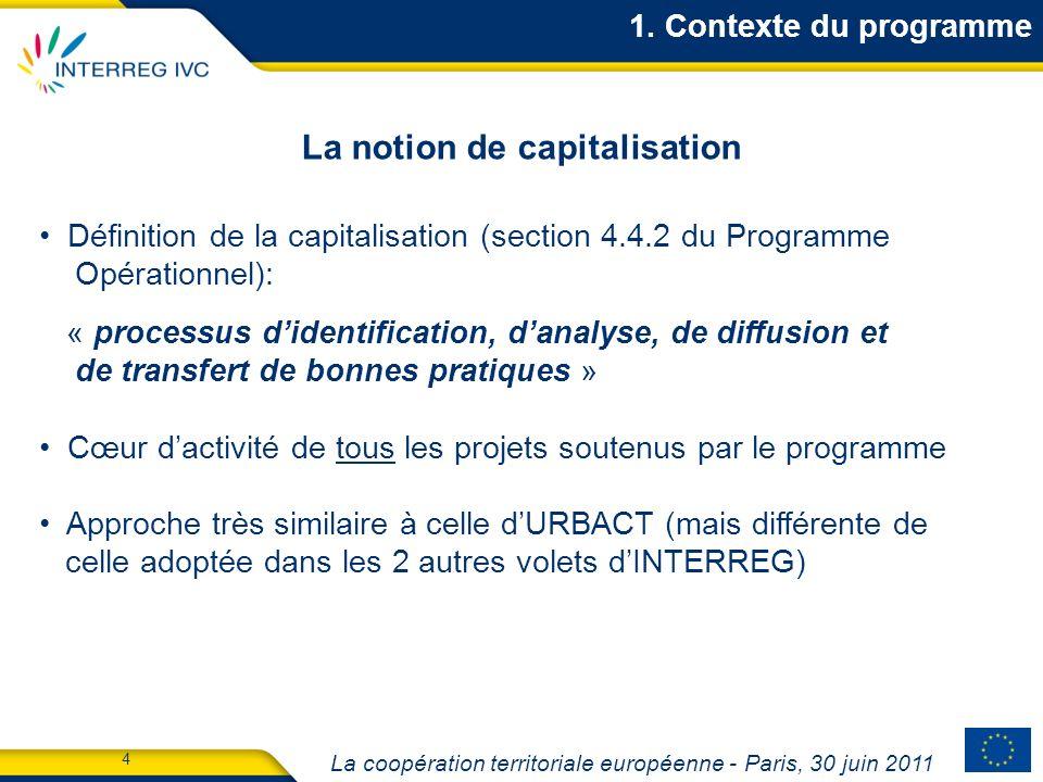 La coopération territoriale européenne - Paris, 30 juin 2011 5 122 projets, impliquant 1,332 partenaires (11 partenaires par projet en moyenne) 82% des régions NUTS 2 de lUE-27 représentées (223 sur 271) Projets répartis au sein des 2 priorités et 10 sous-thèmes : Etat davancement du programme De nombreux partenaires, des thèmes de coopération variés 1.