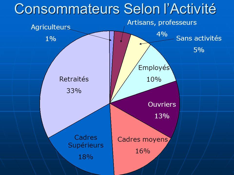 Retraités 33% Cadres Supérieurs 18% Cadres moyens 16% Ouvriers 13% Employés 10% Artisans, professeurs 4% Agriculteurs 1% Sans activités 5% Consommateu