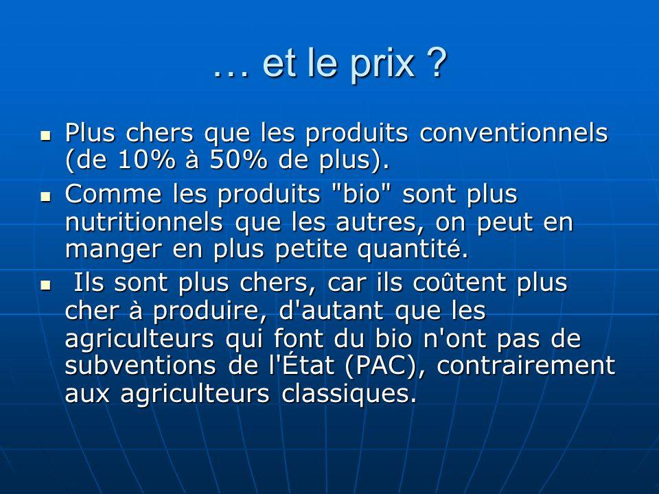 … et le prix ? Plus chers que les produits conventionnels (de 10% à 50% de plus). Plus chers que les produits conventionnels (de 10% à 50% de plus). C